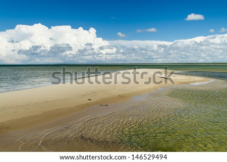 Nice sandbank near Estonian coast - stock photo