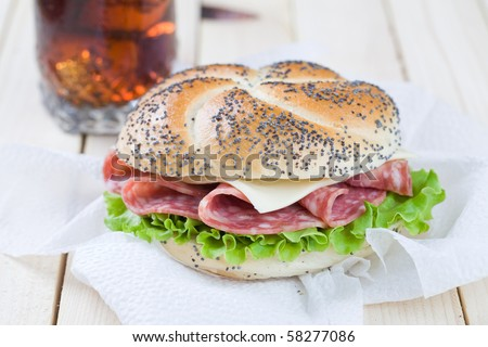 Nice sandwich with cold coke on the background - stock photo