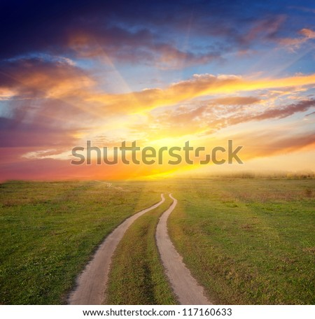Nice scene with path in steppe to sunset