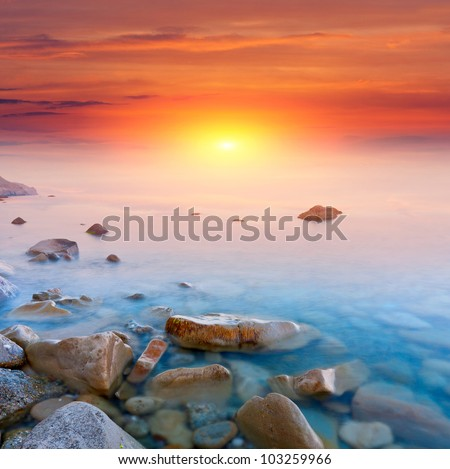 Nice scene with sunset over sea