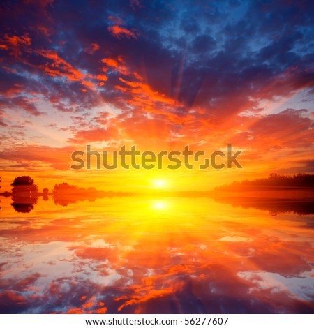 Nice scene with sunset over water
