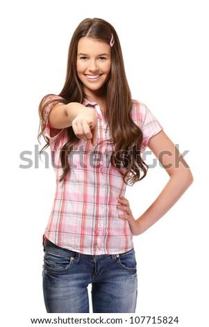 nice schoolgirl posing in studio - stock photo