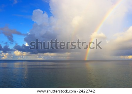 Nice seascape with rainbow in the Indian Ocean