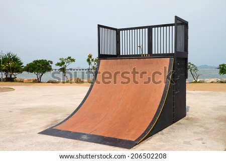Nice skate and other sports park on the puplic park. - stock photo