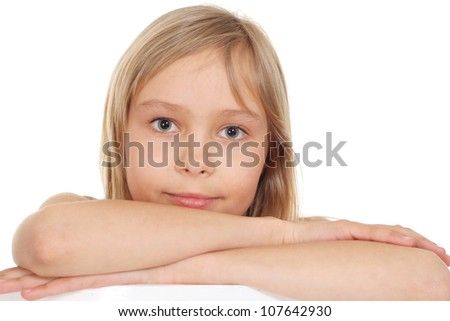 Nice small blonde showed herself in the photos in all her glory - stock photo