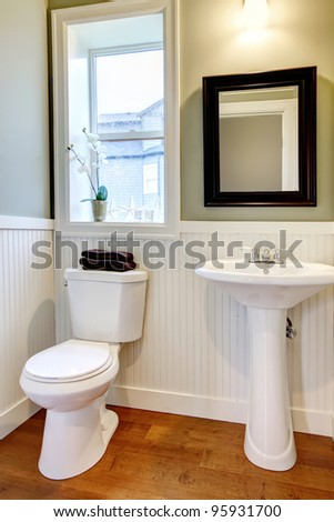 Nice small new simple and elegant bathroom. - stock photo