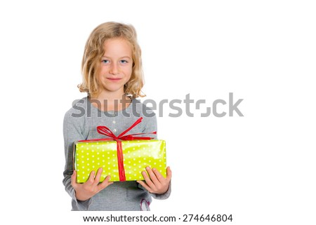 nice smiling blond girl with green present  - stock photo