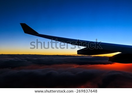 Nice sunrise view from airplane