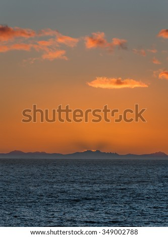 Nice sunrise. View from the Lofoten Islands - Reine, Norway - stock photo