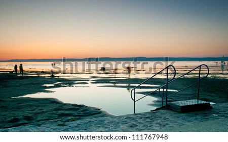 Nice sunset at lake Balaton, Hungary