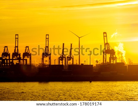 Nice sunset at the harbour of Hamburg, Germany - stock photo
