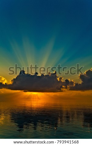 Nice sunset in the Indian Ocean, Maldives