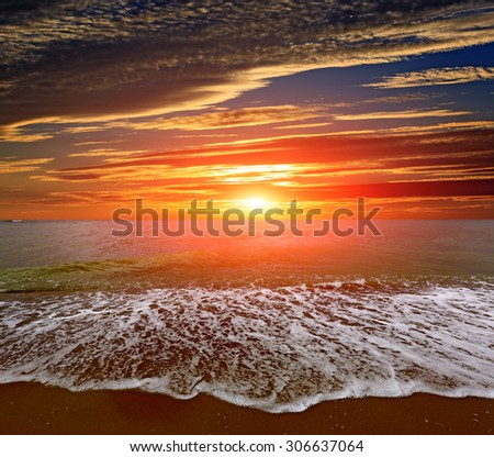 Nice sunset landscape over sea - stock photo