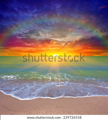Nice sunset scene over sea - stock photo