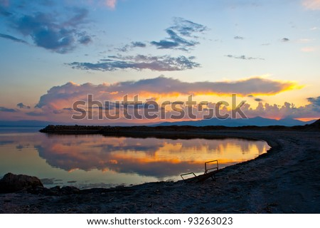 Nice sunset/twilight with reflection on a desert lake. Bombay Beach at the Salton Sea.