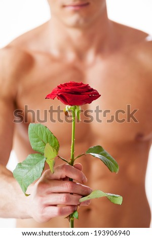 Nice surprise for her. Close-up of young muscular man with perfect torso holding single rose while standing against white background  - stock photo