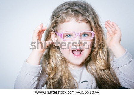 nice surprise girl  - stock photo