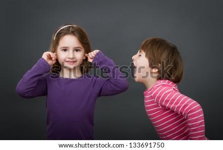 nice twin children screaming - stock photo