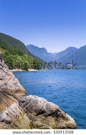Nice veiw of mountains in the bay - stock photo