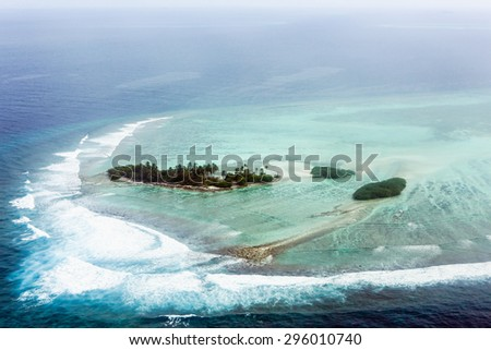 Nice view of Maldives from the airplane - stock photo
