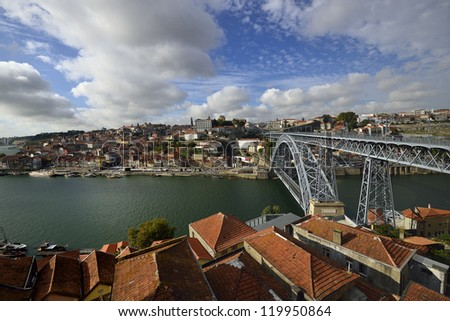 Nice view of Porto and Dom Luis I bridge, Portugal