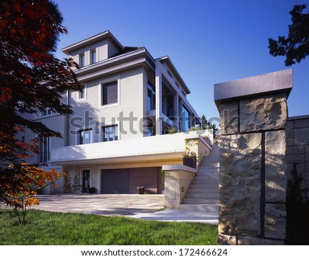 nice view on the large family house  - stock photo