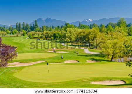 Nice view, panorama, outlook at the beautiful golf course. - stock photo