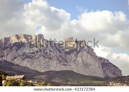 nice view to the top of the rocky mountains Ai-Petri Crimea - stock photo