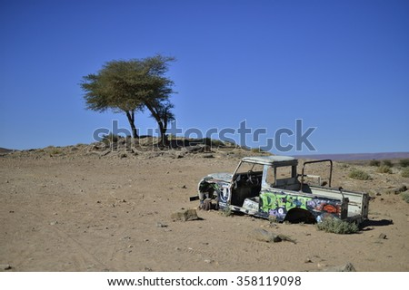 nice vintage offroad car in Morocco near Mhamid - stock photo