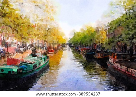 Nice Watercolor Painting of  a canal in Amsterdam