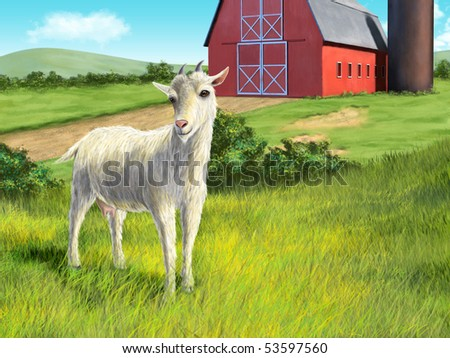 Nice white goat in a rural landscape. Digital illustration. - stock photo