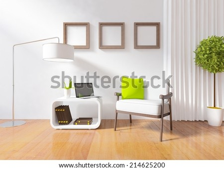 nice white interior of a living room - stock photo