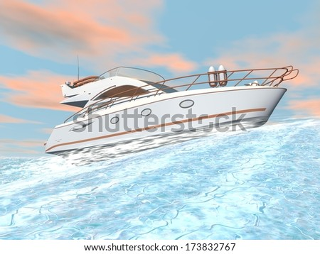 Nice white yacht on a big wave by colorful sunset
