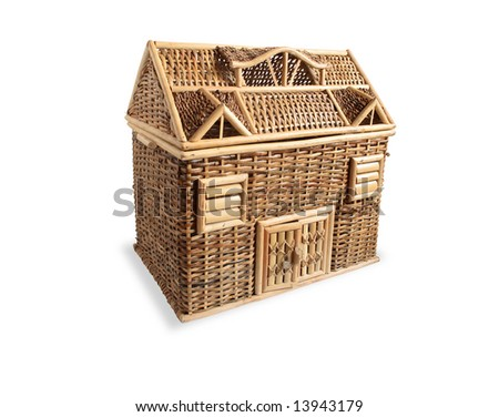 Nice wicker wooden dolls-house on white background