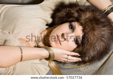 nice woman in a fur hat
