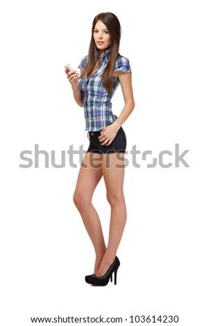 nice woman read her short message in studio - stock photo