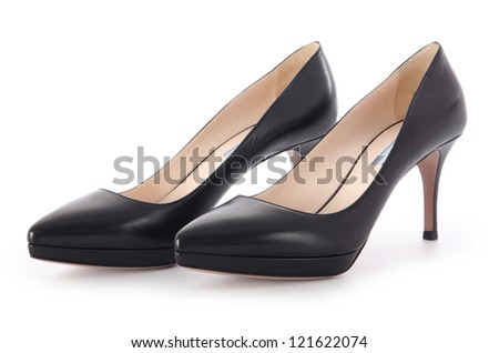 Nice woman shoes isolated on white - stock photo