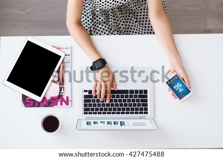 Nice woman working on the laptop  - stock photo