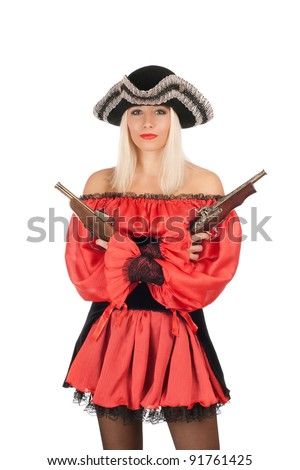 Nice young blonde with guns dressed as pirates - stock photo