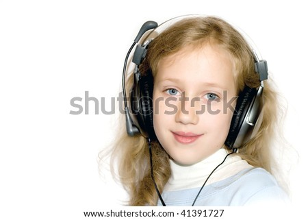 Nice young blondy girl with headset