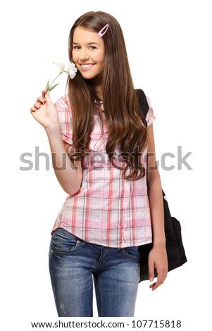 nice young female posing with flower in studio - stock photo