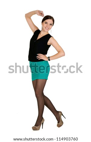 nice young girl posing on light background - stock photo