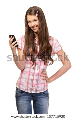 nice young woman holding a  cellphone, isolated on white - stock photo