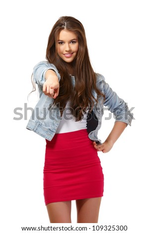 nice young woman portrait in studio - stock photo