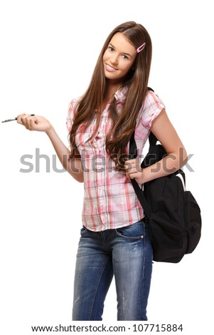 nice young woman posing on white background - stock photo