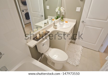 Nicely decorated luxury modern washroom with the toilet and vase with flowers. Interior design. - stock photo