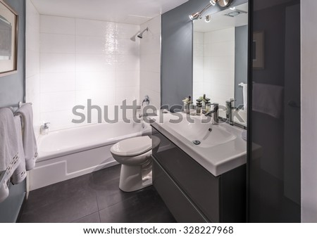 Nicely decorated modern washroom, bathroom, with the toilet sit and sink.  Interior design