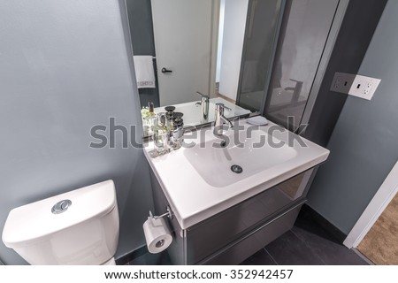 Nicely decorated modern washroom, bathroom, with the toilet sit and sink.  Interior design.