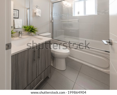 Nicely decorated modern washroom, bathroom with the toilet sit, sink, some plants on the shelf. Interior design. - stock photo