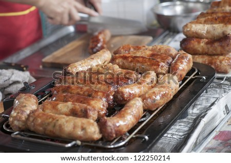 Nicely grilled sausages, Thai spicy sausages - stock photo